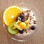 overnight oats in a glass jar with fruits
