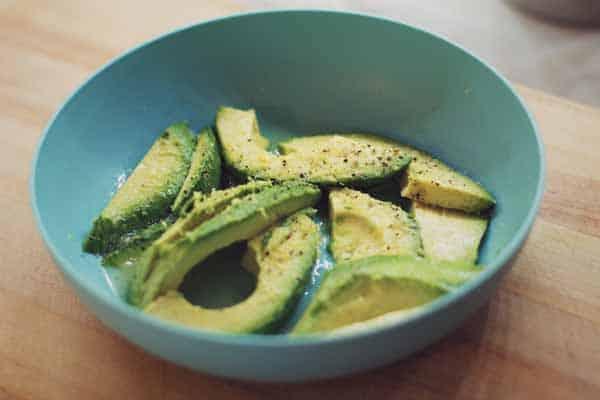 Keto Avocado crisps in a blue bowl