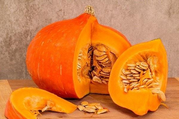 Pumpkin sliced in quarters