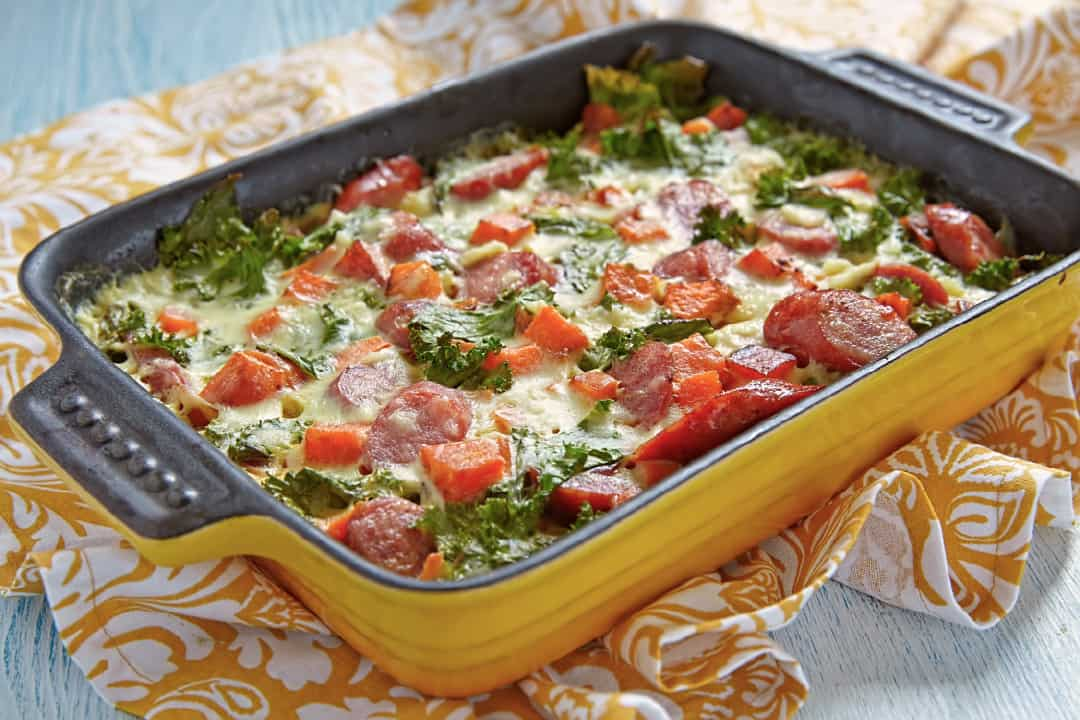 Sausage and Sweet Potato in a casserole dish