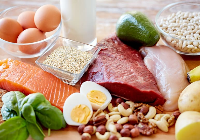 Tuna, salmon, chicken, eggs and nuts