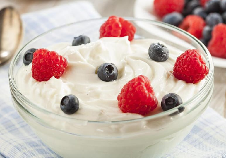 yoghurt with fruit in a bowl