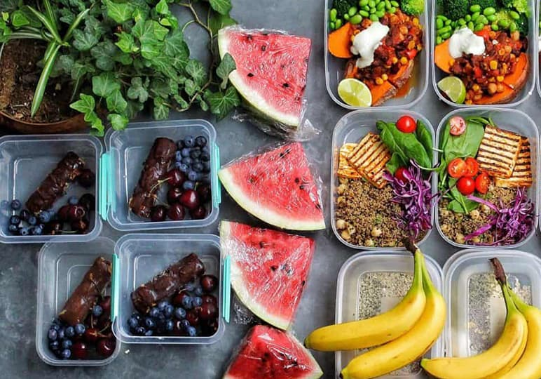 Meal prepped fruits and salads