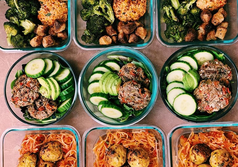 Meal prepped foods in containers