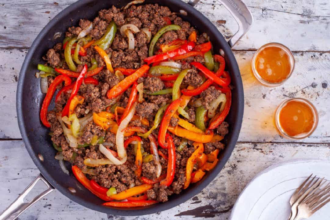 Ground Beef Fajita Bowl in a frying pan