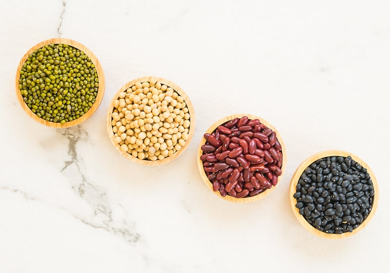 beans and lentils in bowls