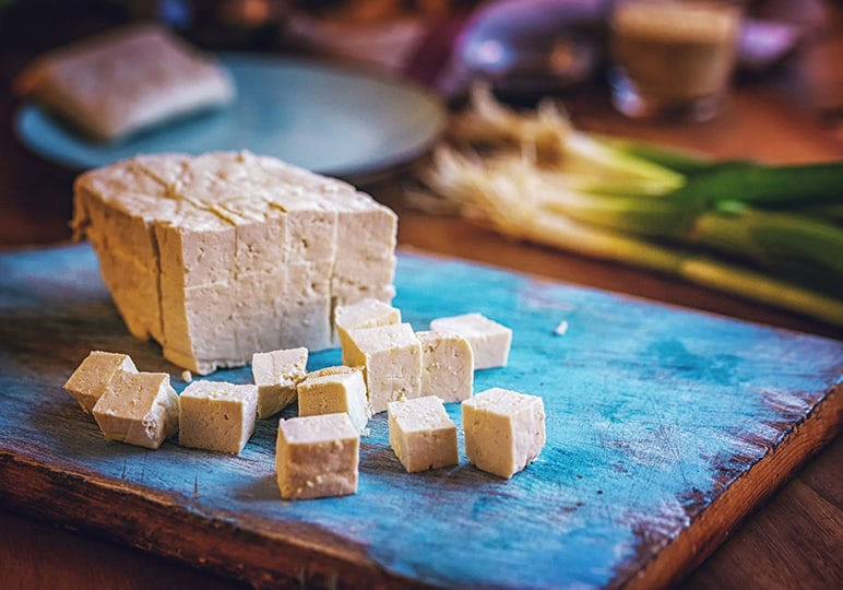 Tofu that has been diced