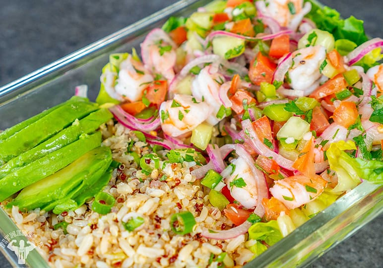 Shrimp, vegetables and rice in a meal prep container