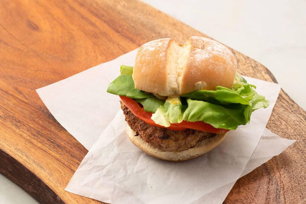 air fryer turkey burger on a wooden board