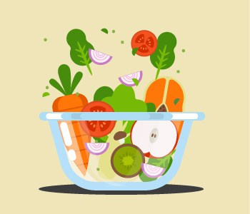 Fruits and vegetables in a bowl