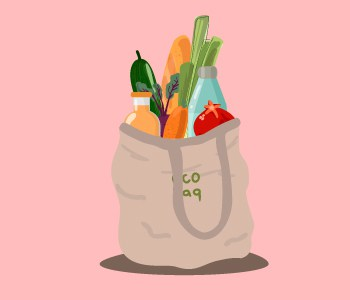 A eco friendly bag with fruits, vegetables and water