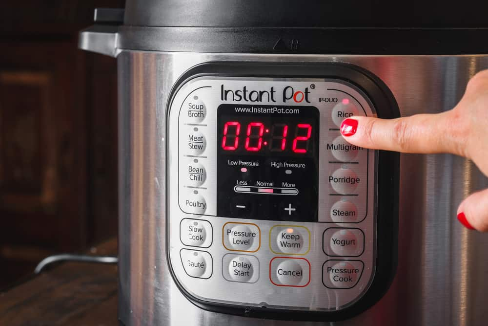 Instant pot with the timer set