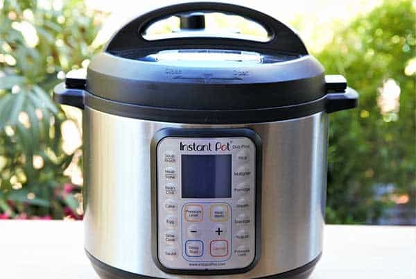 Instant pot on a surface outside