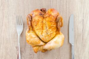 roasted chicken cooked with the best air fryer with rotisserie