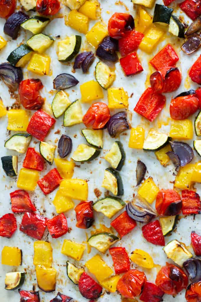 Roasted Mediterranean Vegetables on a baking tray