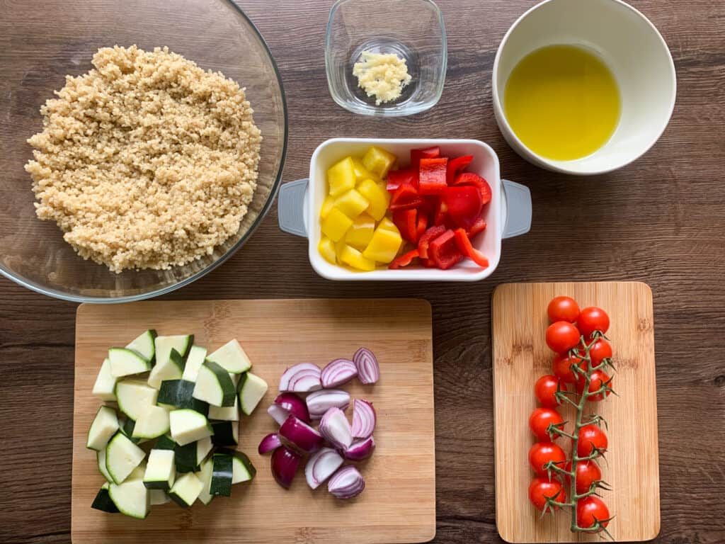 All the ingredients for Quinoa and Mediterranean Roasted Vegetables portioned